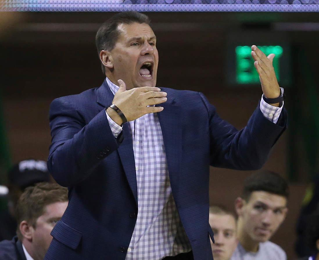 Central Arkansas head coach Russ Pennell reacts to a play against Baylor in the first half of a NCAA college basketball game, Friday, Nov. 10, 2017, in Waco, Texas. (AP Photo/Jerry Larson)