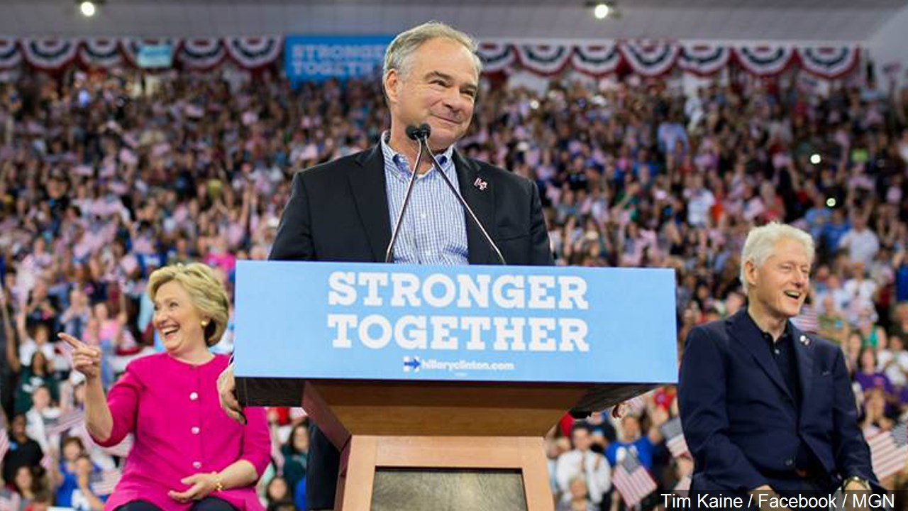 Hillary Clinton, Tim Kaine and Bill Clinton, Photo Date: 7/30/16 (Photo credit: Tim Kaine / Facebook / MGN)