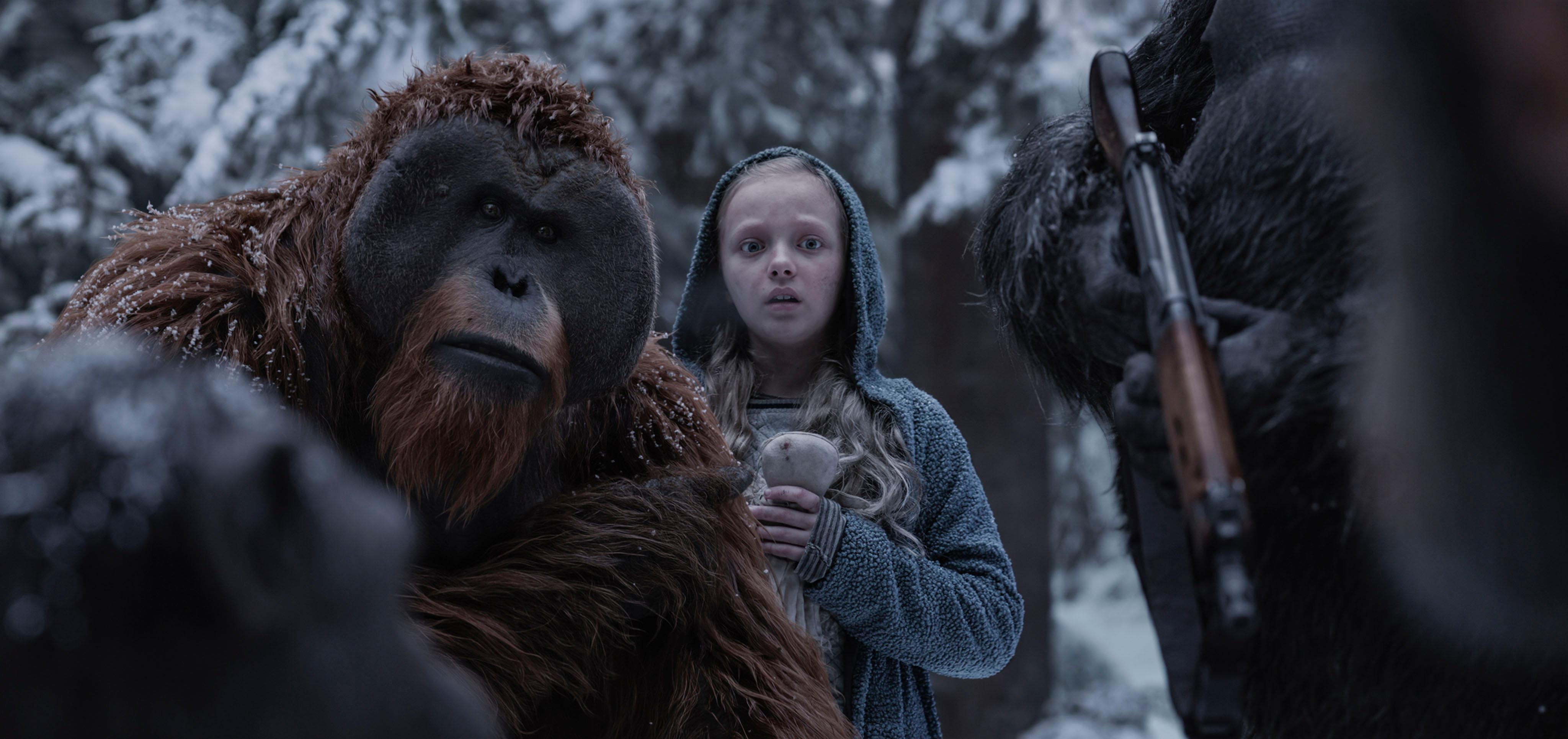 "Karin Konoval, left, and Amiah Miller in Twentieth Century Fox's ""War for the Planet of the Apes."""