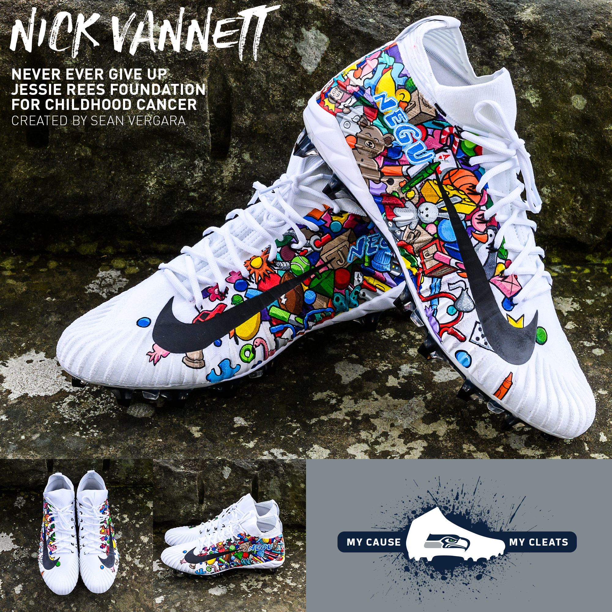 Every year the NFL gives players a chance to showcase a charity of their choice on their shoes with the My Cause, My Cleats game. For tight end Nick Vannett the choice was an easy one. Never Ever Give Up: The Jessie Rees Foundation for Childhood Cancer (NEGU). (Image: Seattle Seahawks)<p></p>