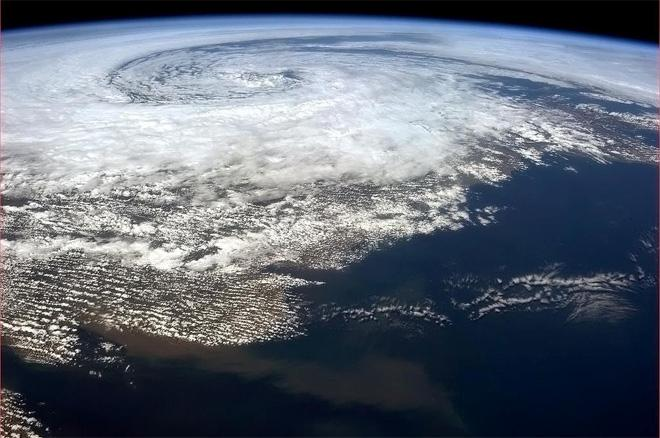 Big storm swirling off the Irish coast on the 9th of May. (Photo & Caption: Col. Chris Hadfield, NASA)