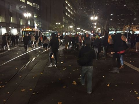 Protesters blocking the street at West Burnside and Broadway - Photo from KATU's Cory Marshall