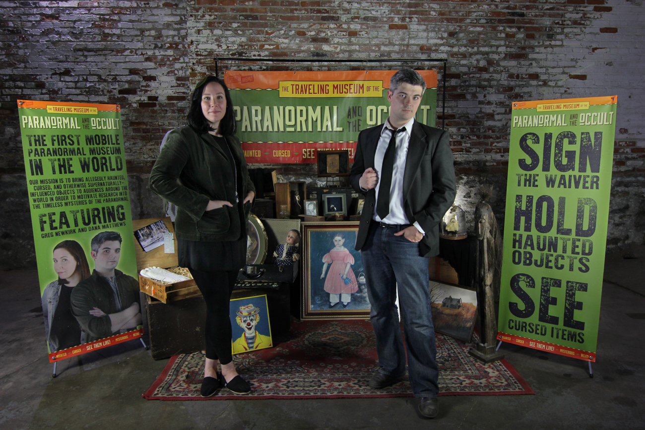 Dana and Greg Newkirk in front of the Traveling Museum of the Paranormal and the Occult / Image courtesy of the museum // Published: 10.20.17<p></p>