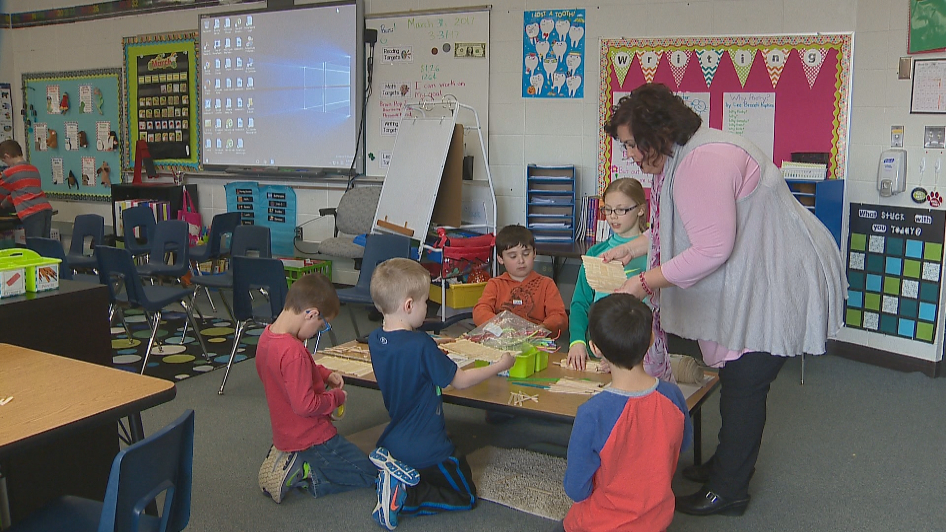Golden Apple recipient, Lyzette Maroszek, inside her classroom at Meadowbrook Elementary. (WLUK)