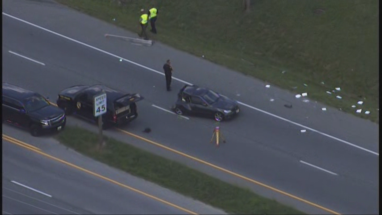 "A person has been seriously injured in a crash Tuesday afternoon in Waldorf, Maryland. Fire officials say the unidentified person was ""ejected and not breathing."" (Photo: SkyTrak7)"