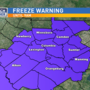 Freeze Warning Monday until 9AM