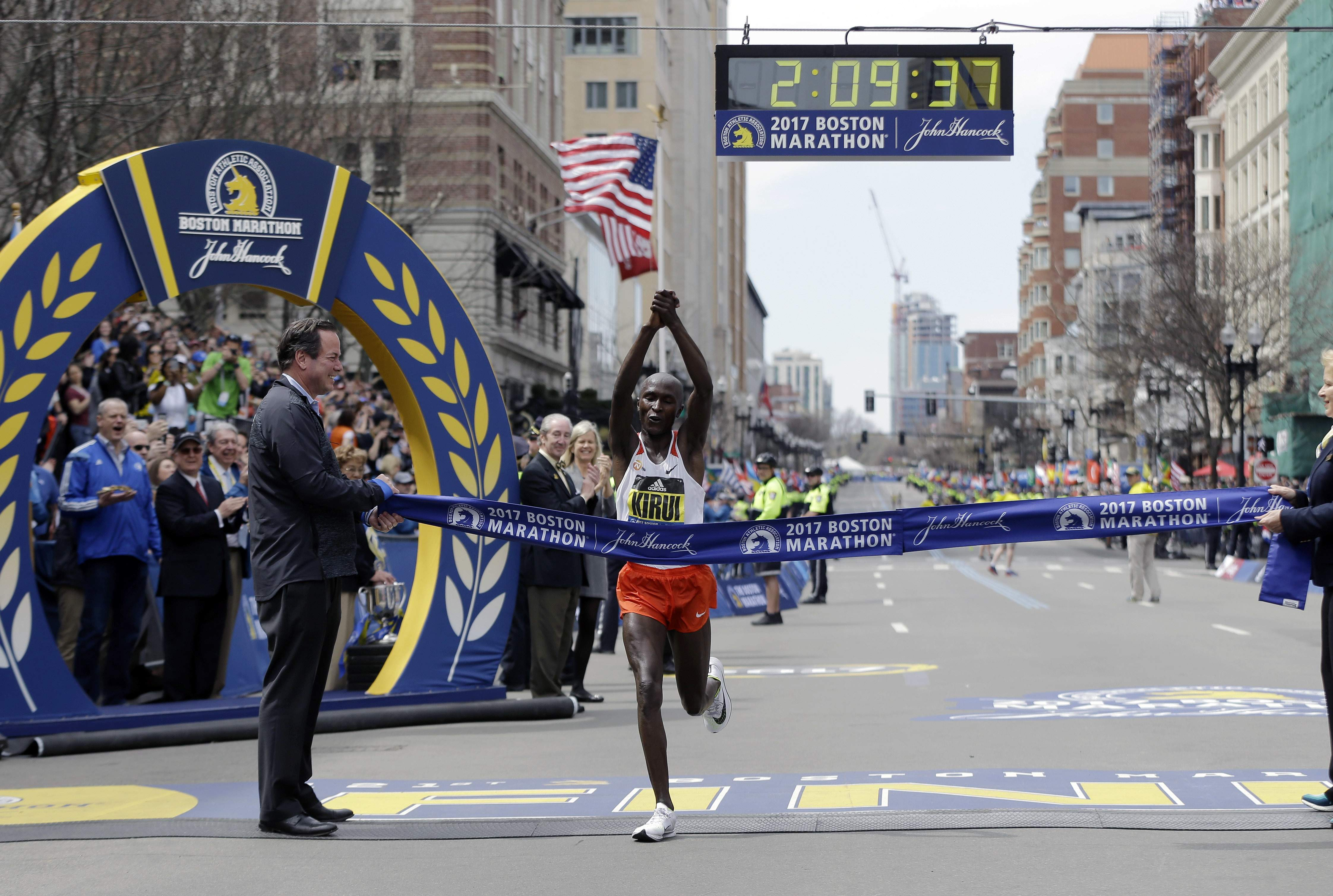 Geoffrey Kirui, of Kenya, crosses the finish line to win the 121st Boston Marathon on Monday, April 17, 2017, in Boston. THE ASSOCIATED PRESS
