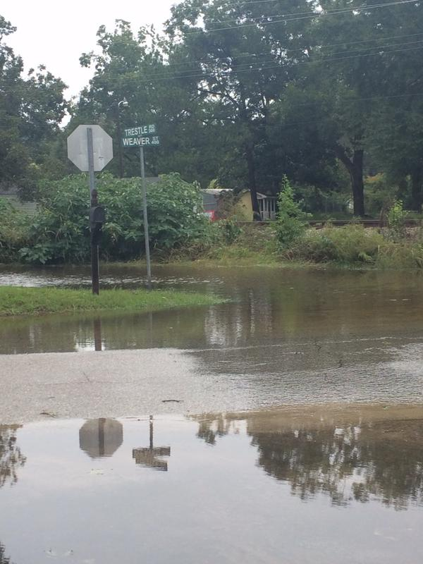 The intersection of Trestle Street and Weaver Street in Darlington was completely flooded October 3rd. Photo: Jordan Schuman