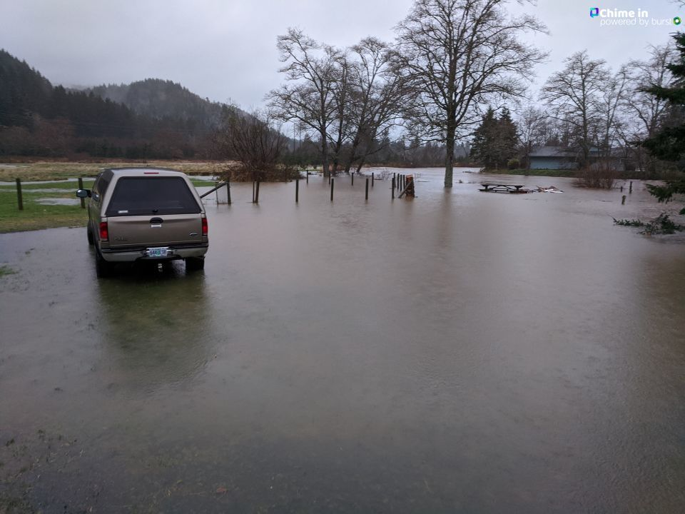 Heather Blackwell lives along Highway 101 near the Necanicum River. She sent KATU these photos on Dec. 20, 2019 after the rising river water began surrounding her house. Photo courtesy Heather Blackwell