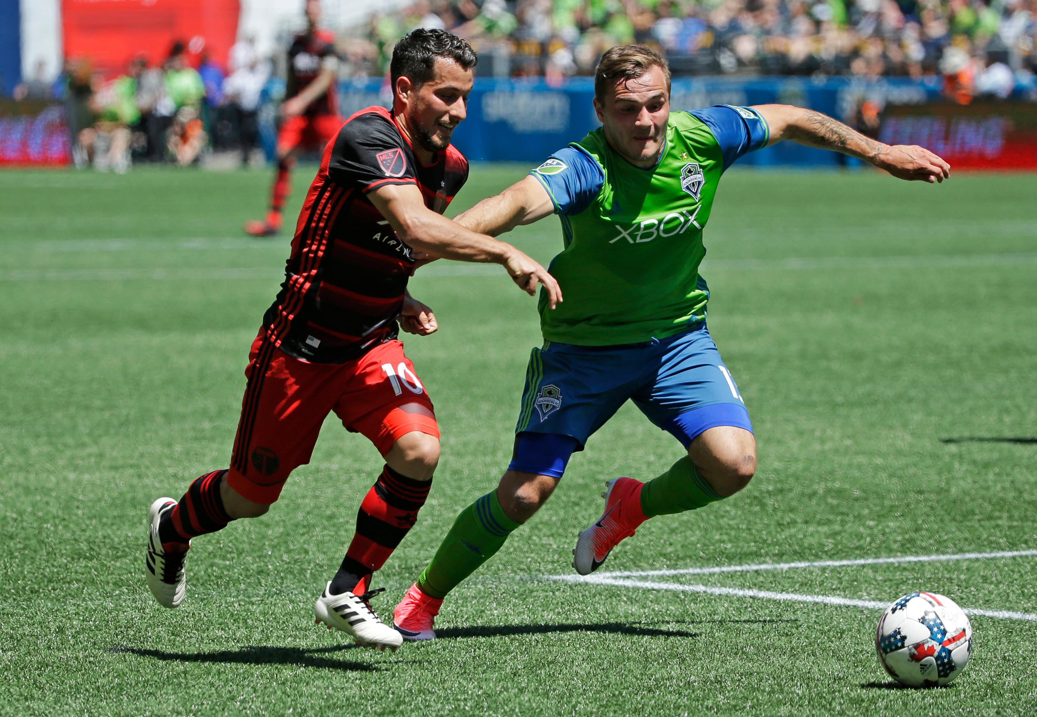 Seattle Sounders forward Jordan Morris, right, challenges Portland Timbers' midfielder Sebastian Blanco, left, in the first half of an MLS soccer match, Saturday, May 27, 2017, in Seattle. (AP Photo/Ted S. Warren)