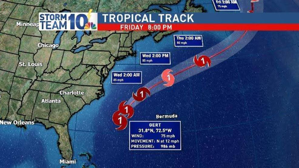 Gert still strengthening, but passing well east of the US