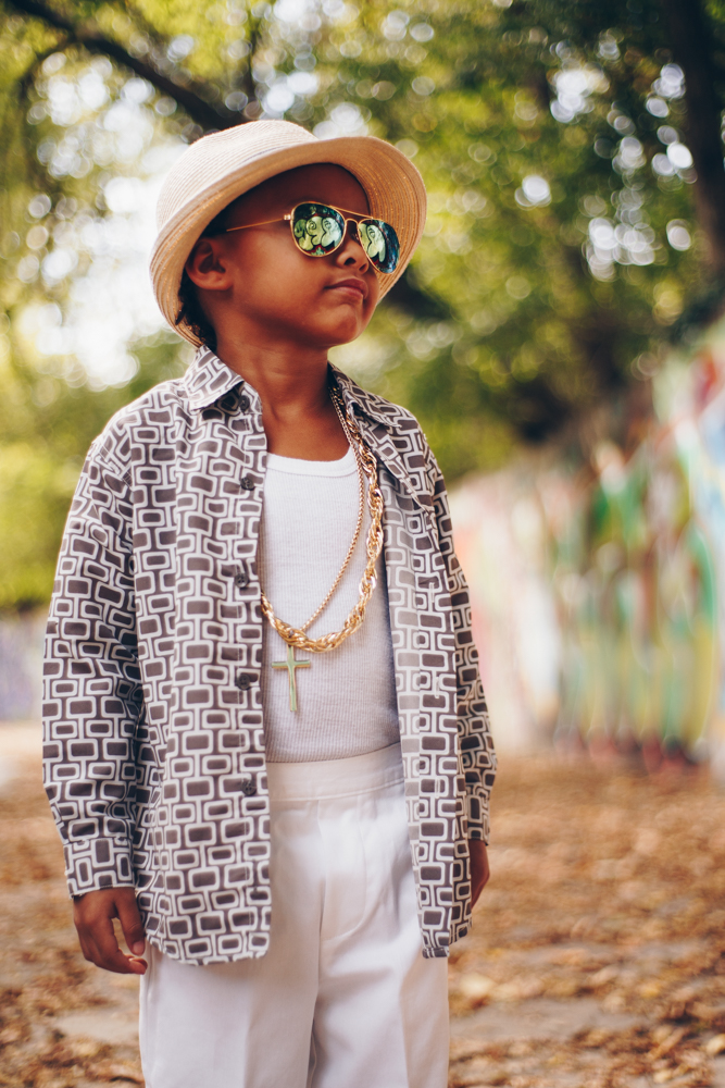 Kingston as Bruno Mars with clothing pieces from Casablanca Vintage / Image: Catherine Viox // Published: 10.14.17