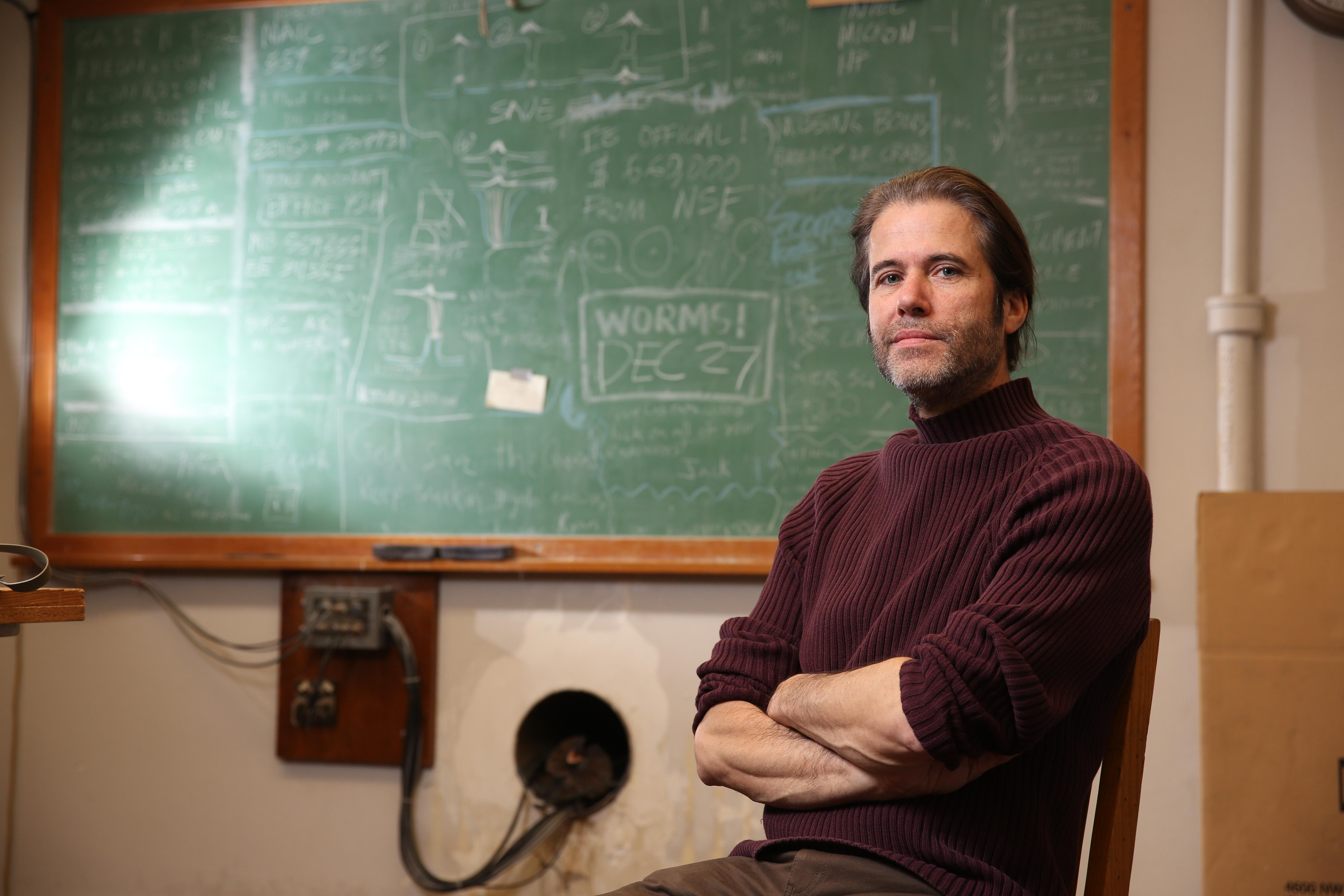 Robert Schofield poses for a picture inside his lab on Tuesday, Jan 26, 2016, on the campus of the University of Oregon in Eugene, Oregon.  (Photo courtesy University of Oregon)