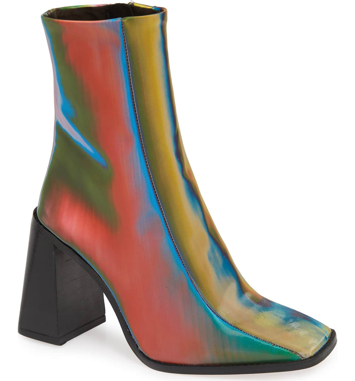 A glossy ankle boot is styled with a flared, dramatic block heel. $101.98 (Image: Nordstrom){ }