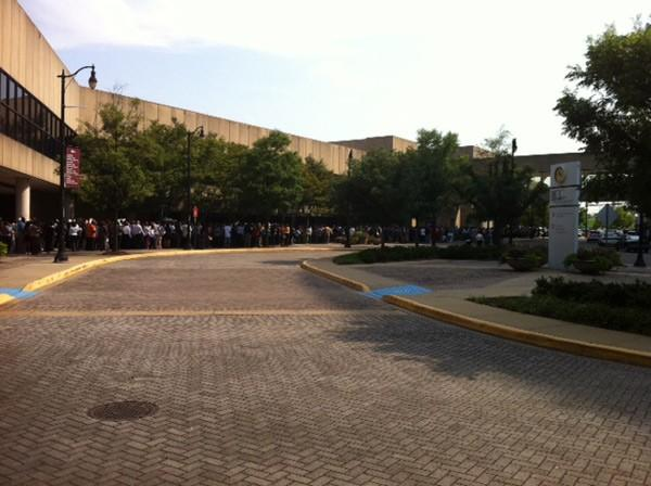 Line for job fair at BJCC 8-8-12