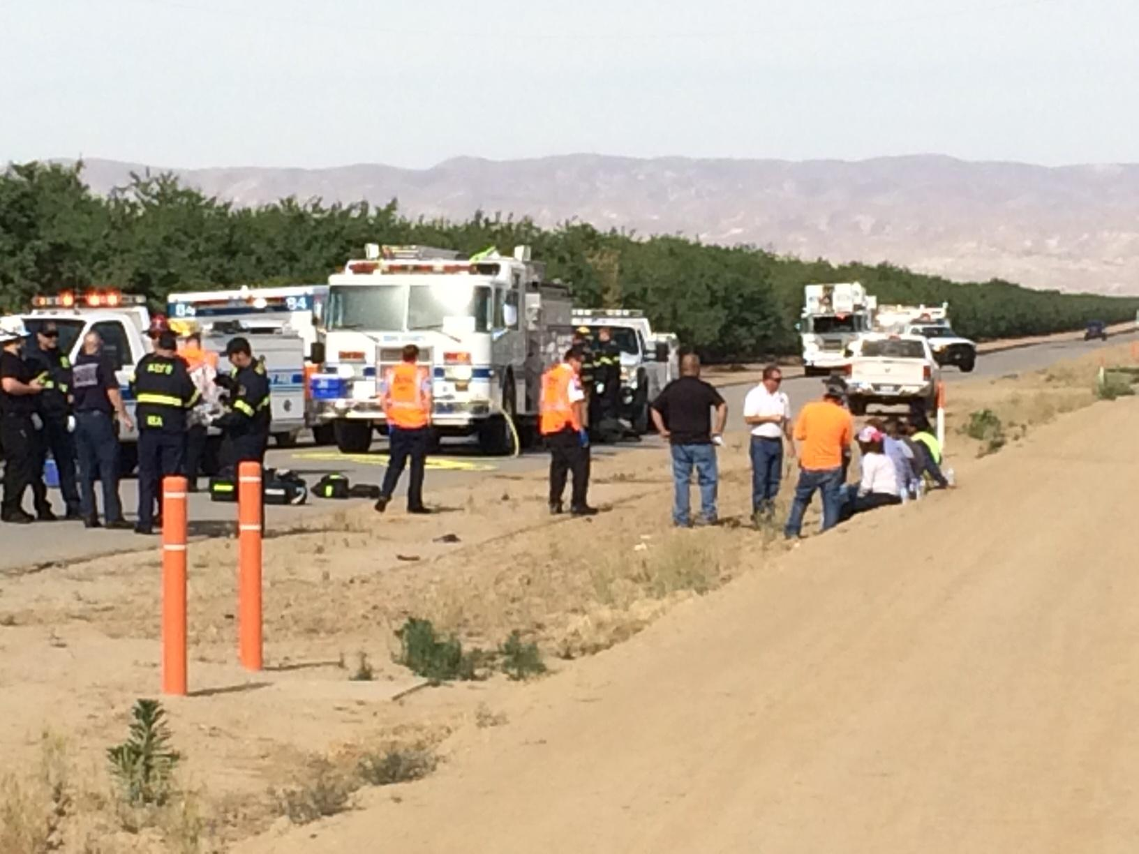 FILE -- Emergency workers are on scene of a pesticide exposure on Copus Road south of Bakersfield, Calif., May 5, 2017. (KBAK/KBFX photo/Steve Mills)