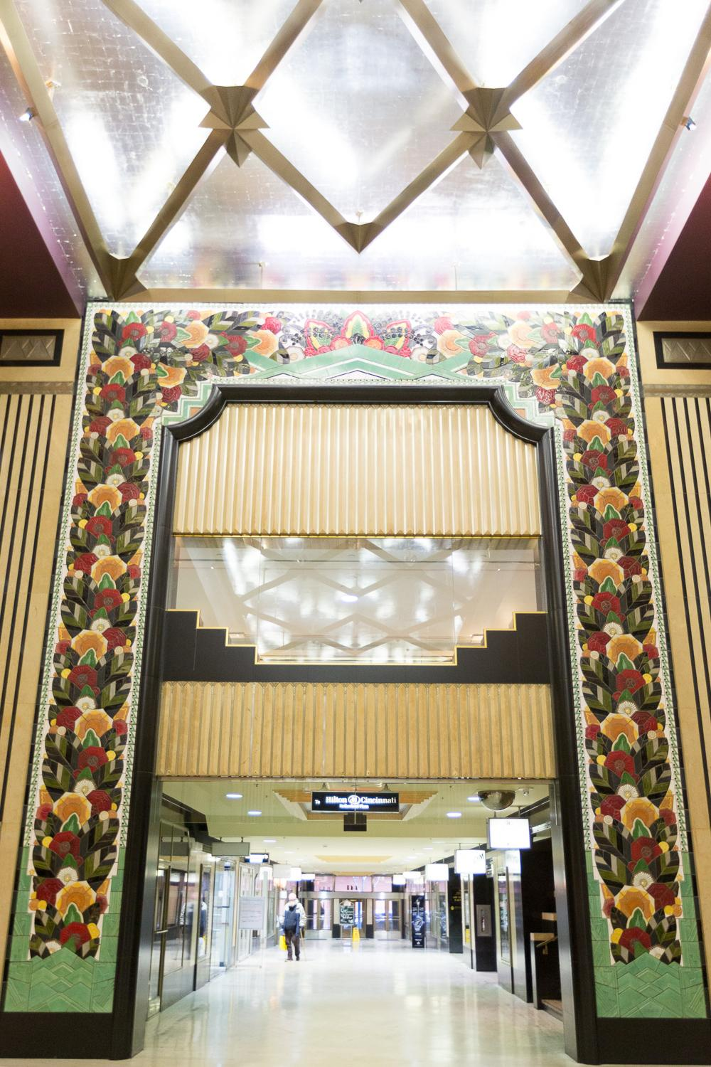 The Rookwood tile entry way to the lower portion of the Hilton Netherland from Carew Tower. (Image: Daniel Smyth Photography)