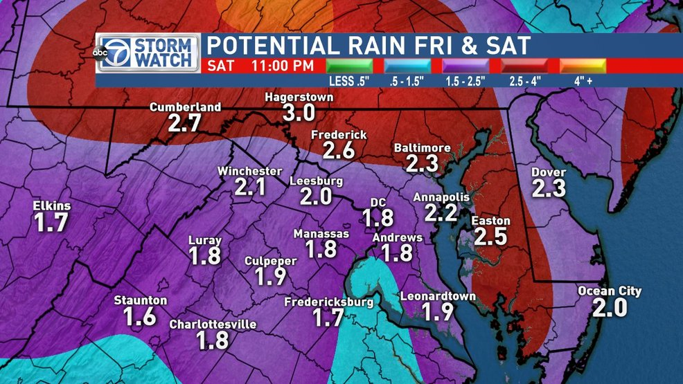 Flooding rain threat across the DC area Friday into Saturday