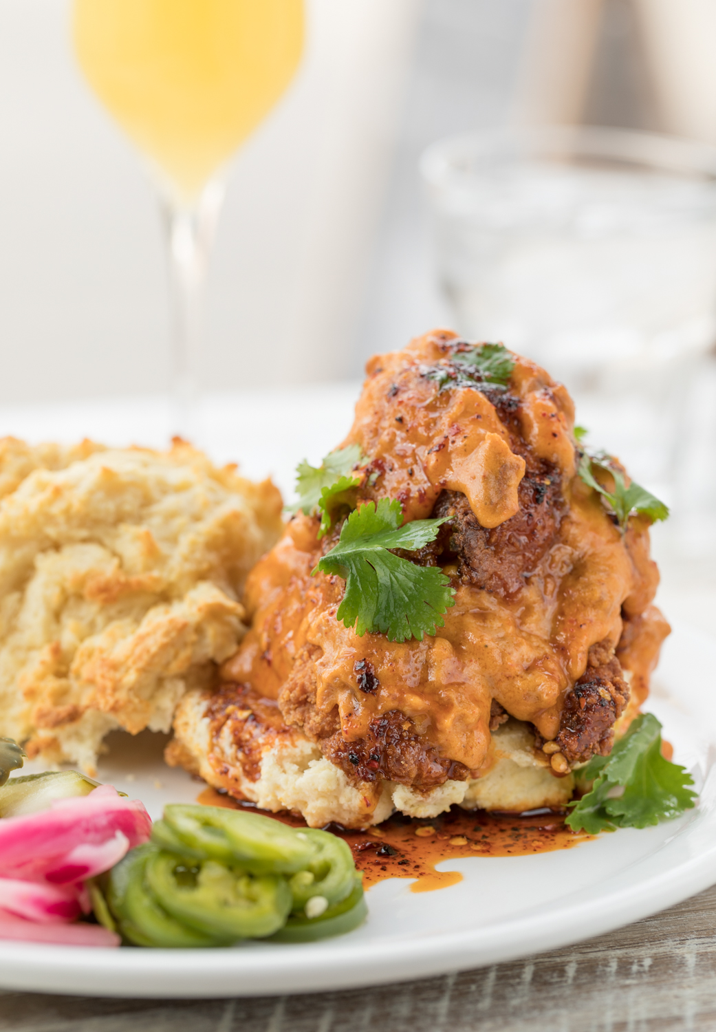 Fried Chicken in a Biscuit: fried chicken, buttermilk biscuit, with spicy chorizo gravy / Image: Marlene Rounds // Published: 1.6.19
