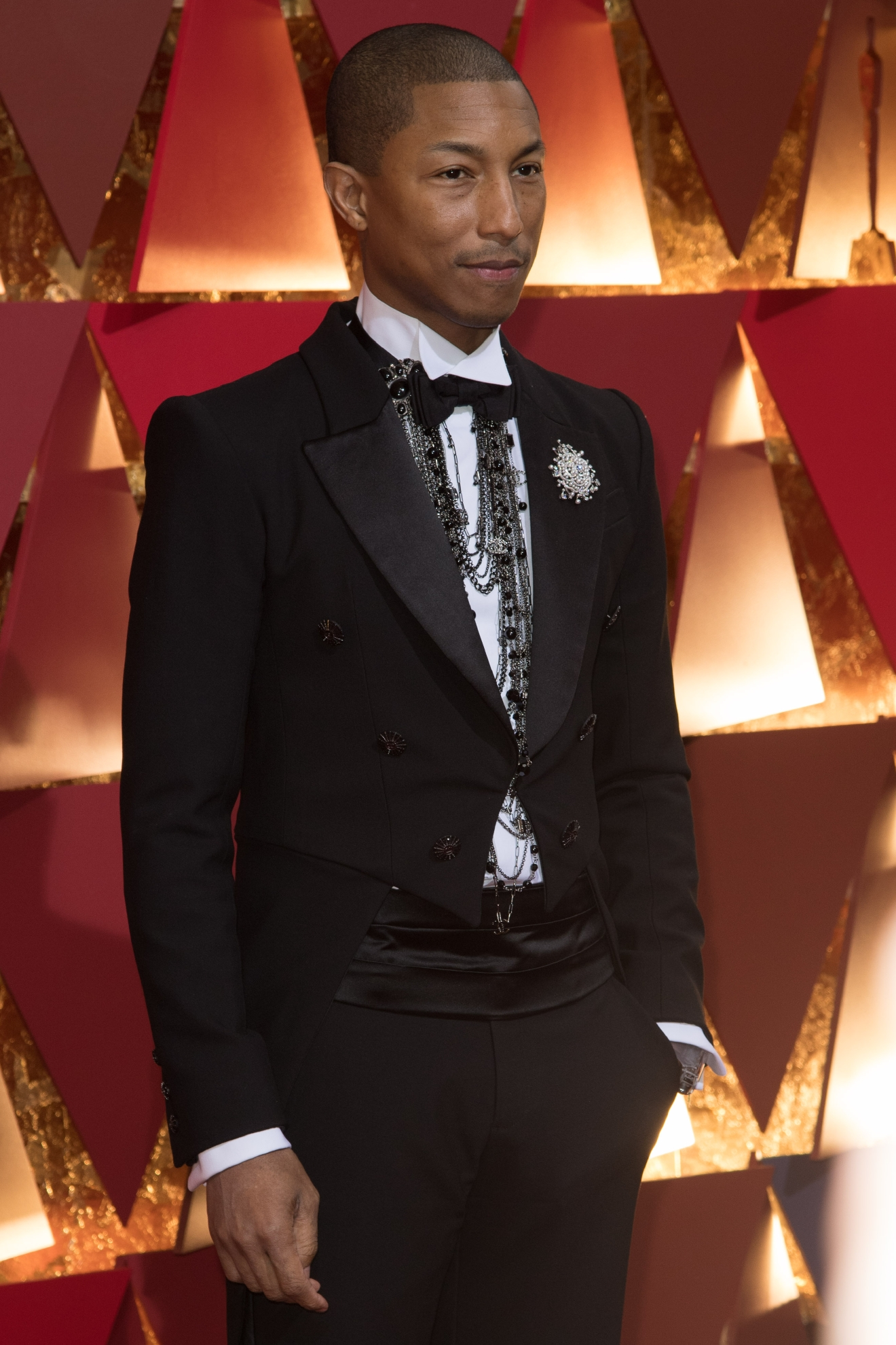 #38: Pharrell Williams. We can't  blame him, he's Pharrell! And these layered necklaces he has on are honestly better than that hat, in our opinion. But still... (Image: AMPAS)