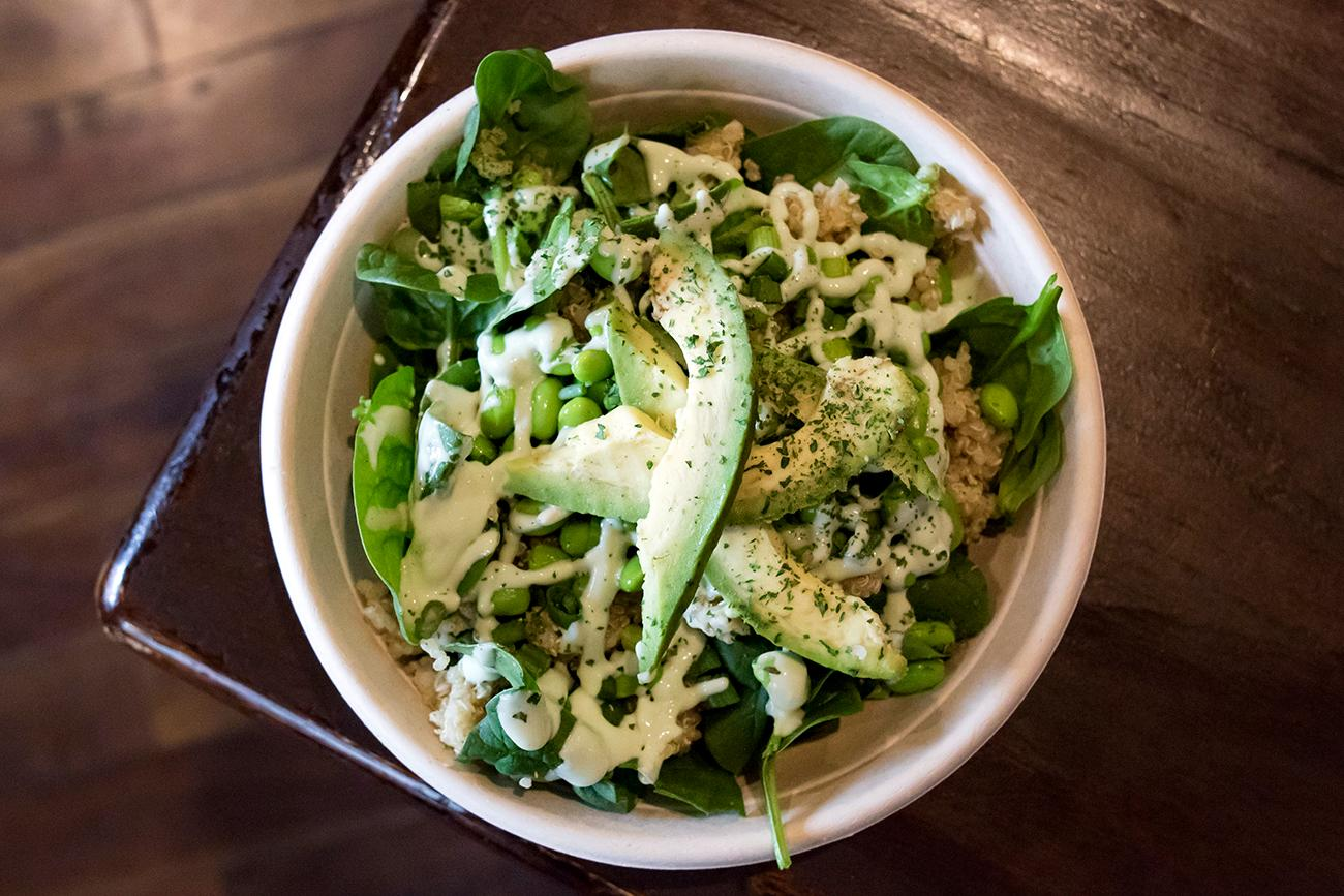 Green Goddess Bowl: quinoa, spinach, avocado, green onion, edamame, and a drizzle of lemon tahini dressing / Image: Allison McAdams // Published: 2.9.19