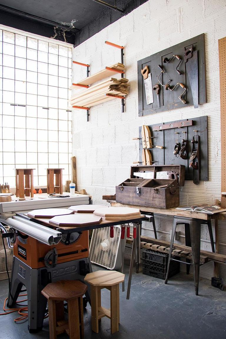 Brian Grossman, uses his great-grandfathers tools to create woodworks. / Image: Allison McAdams