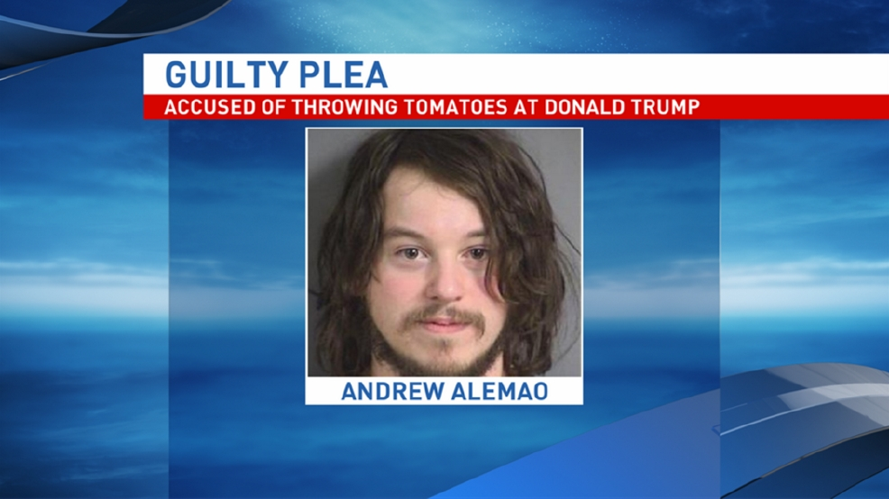 Iowa man accused of throwing tomatoes at Trump fined $65