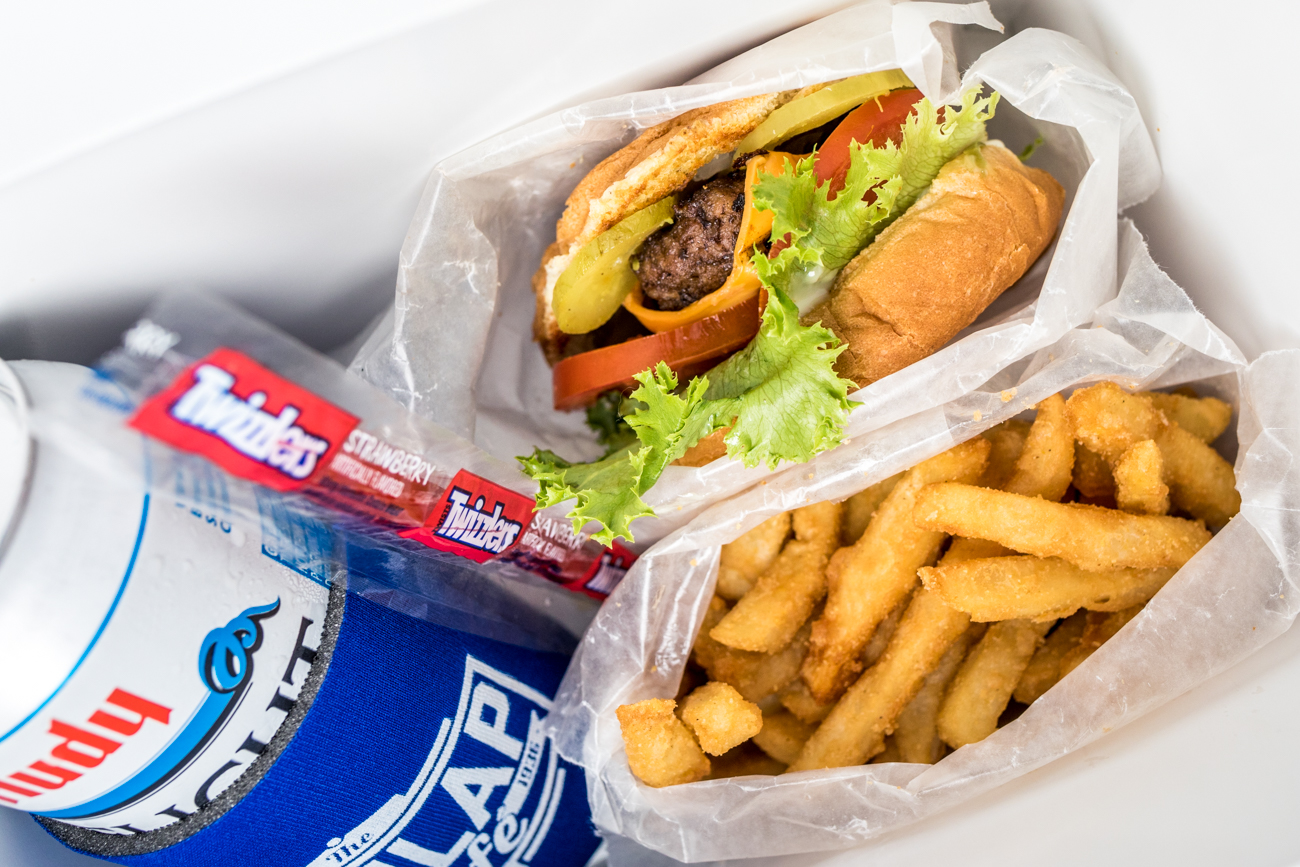 The Super Basic Adult Happy Meal Box: burger, fries, Hudy Delight, candy, and a coozie for a prize / Image: Catherine Viox // Published: 9.4.20