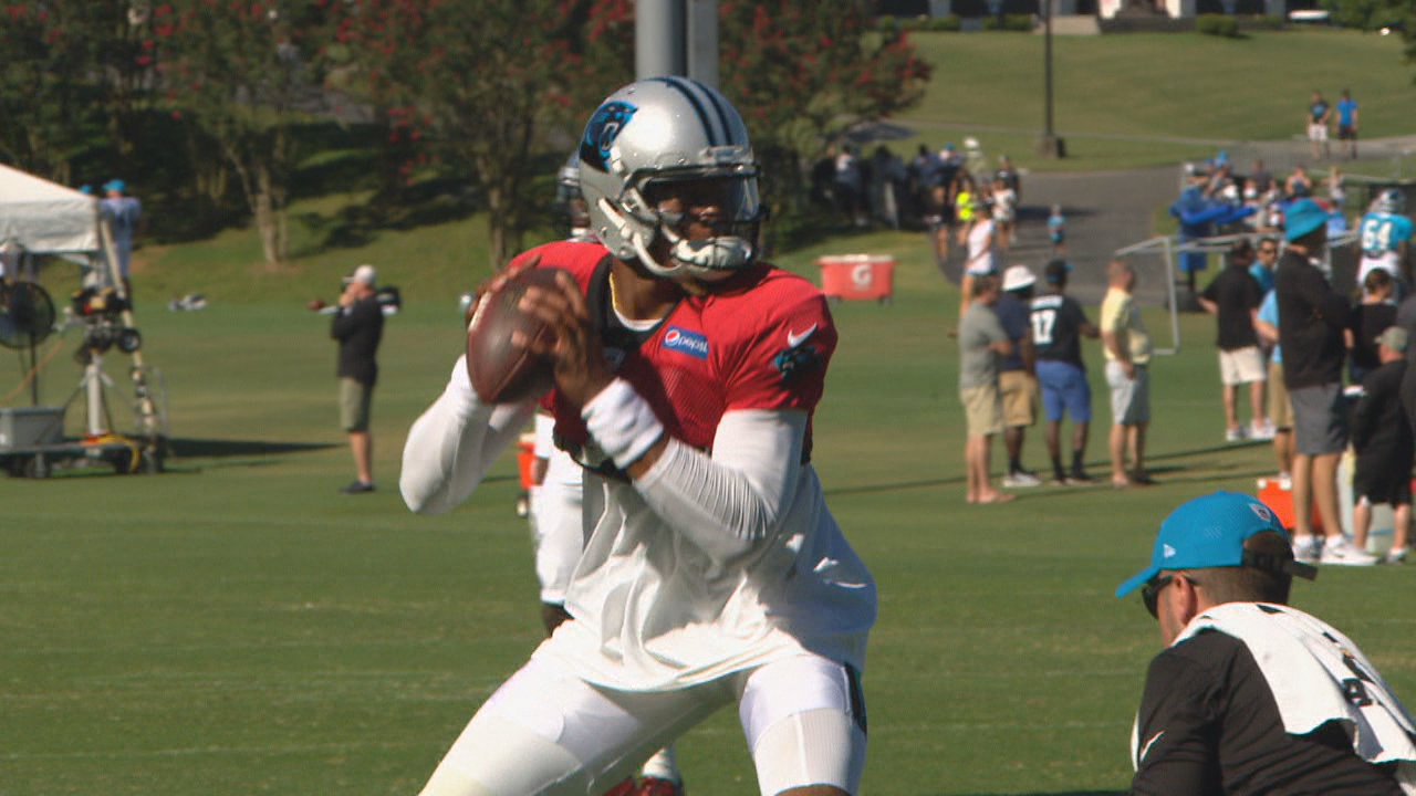 Panthers quarterback Cam Newton was held out of passing drills with soreness in surgically repaired right throwing shoulder. (Photo credit: WLOS Staff)