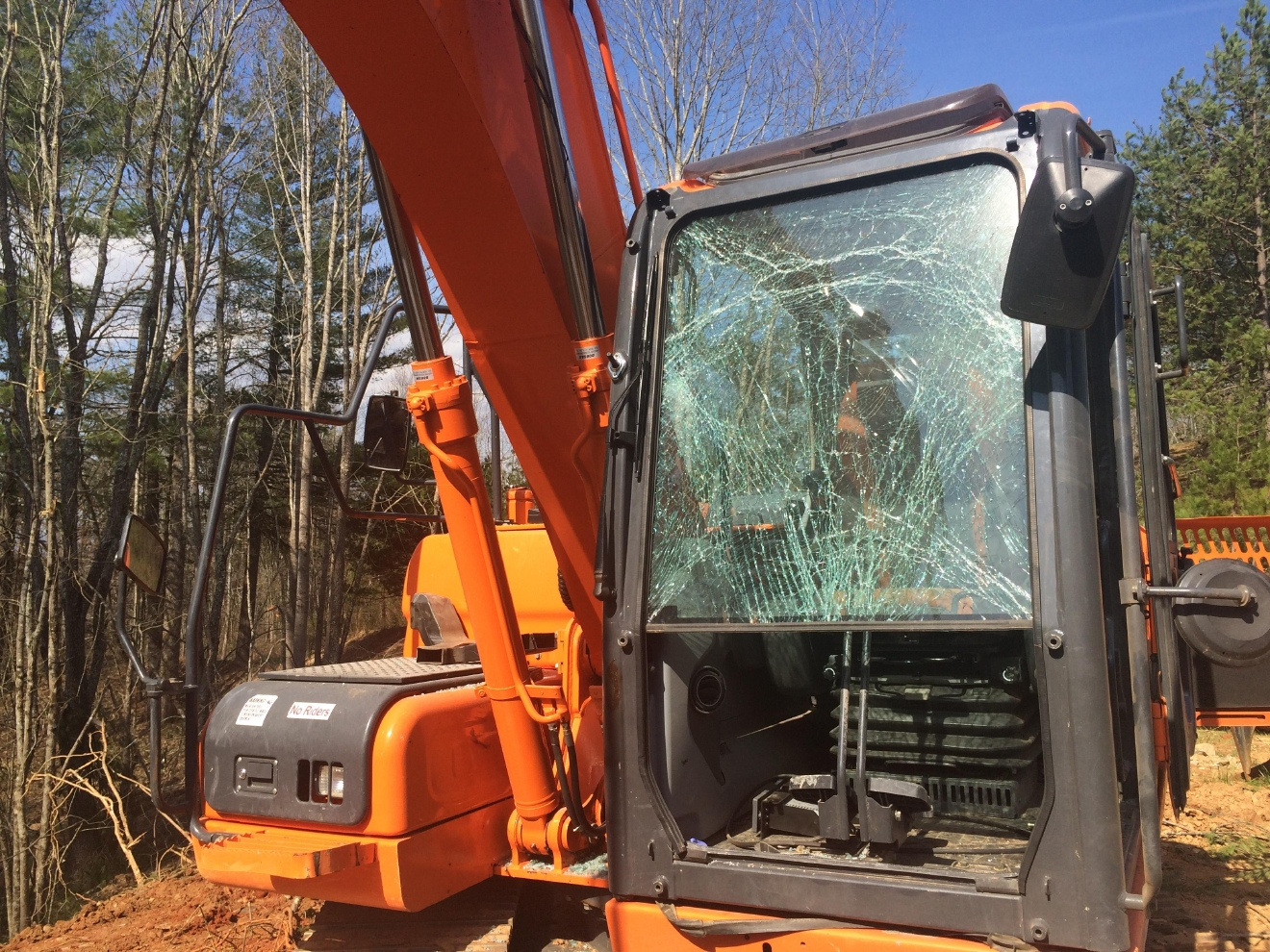 Track hoe at Rolling Hills development in Buncombe County. Photo credit WLOS