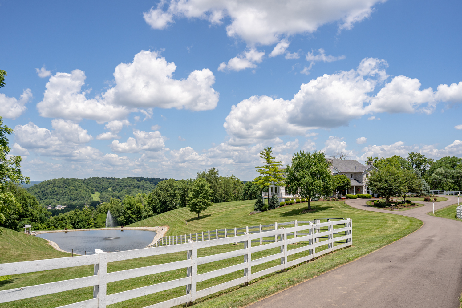Valley View Farms, located at 10014 Mt. Nebo Road in Miami Township, is a 3-bed, 7-bath, 9,238-square-foot home that's listed for $1,950,000. Nestled on 77 sprawling acres of scenic landscape, this expansive estate can be found just west of downtown, offering all the amenities a homeowner of discerning taste seeks. / Image: Chris Farr // Published: 10.27.20