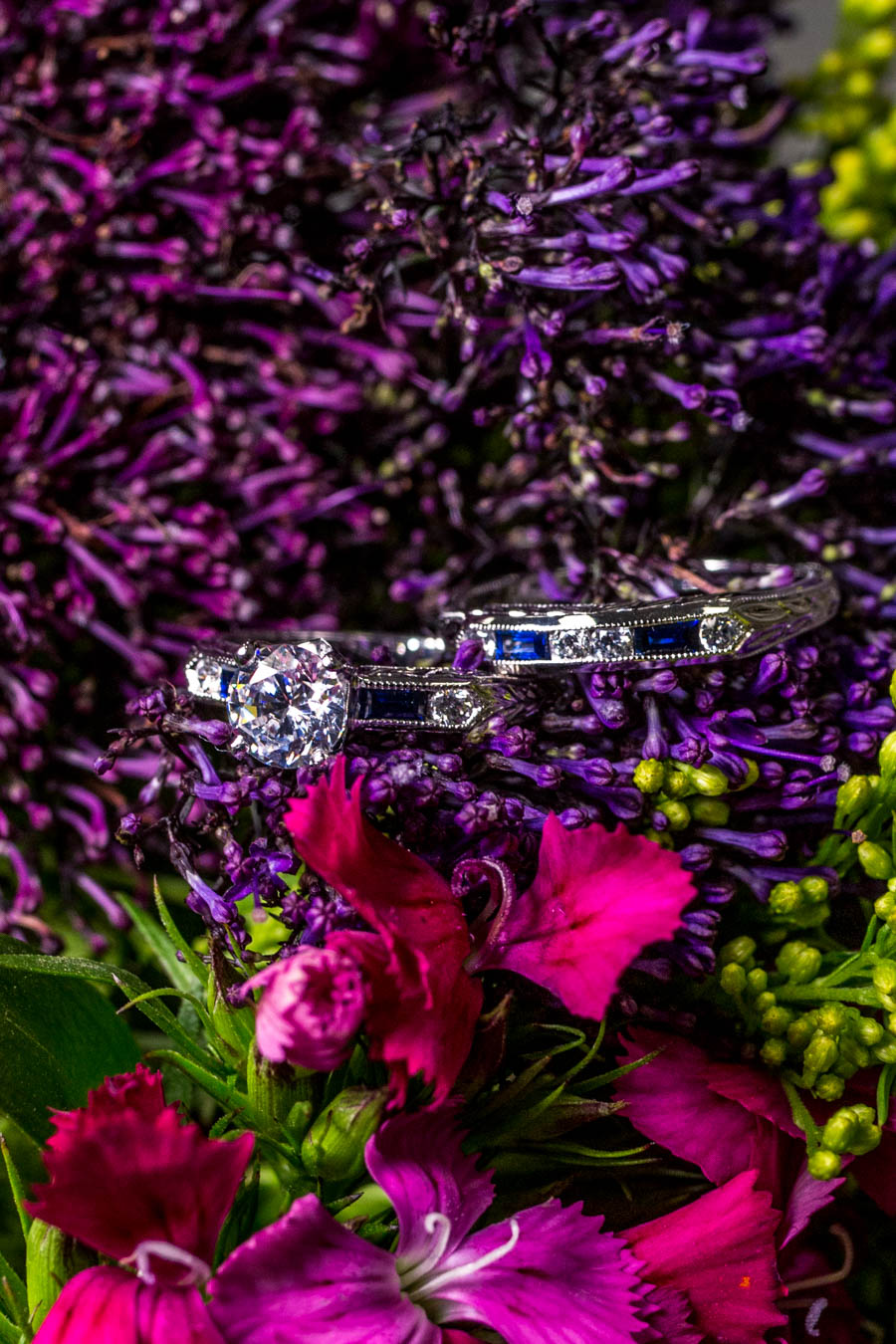 Lucia Sapphire engagement and wedding ring / Image: Catherine Viox{ }// Published: 10.8.19