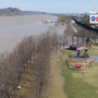 Ohio River at Huntington past crest, but still running high