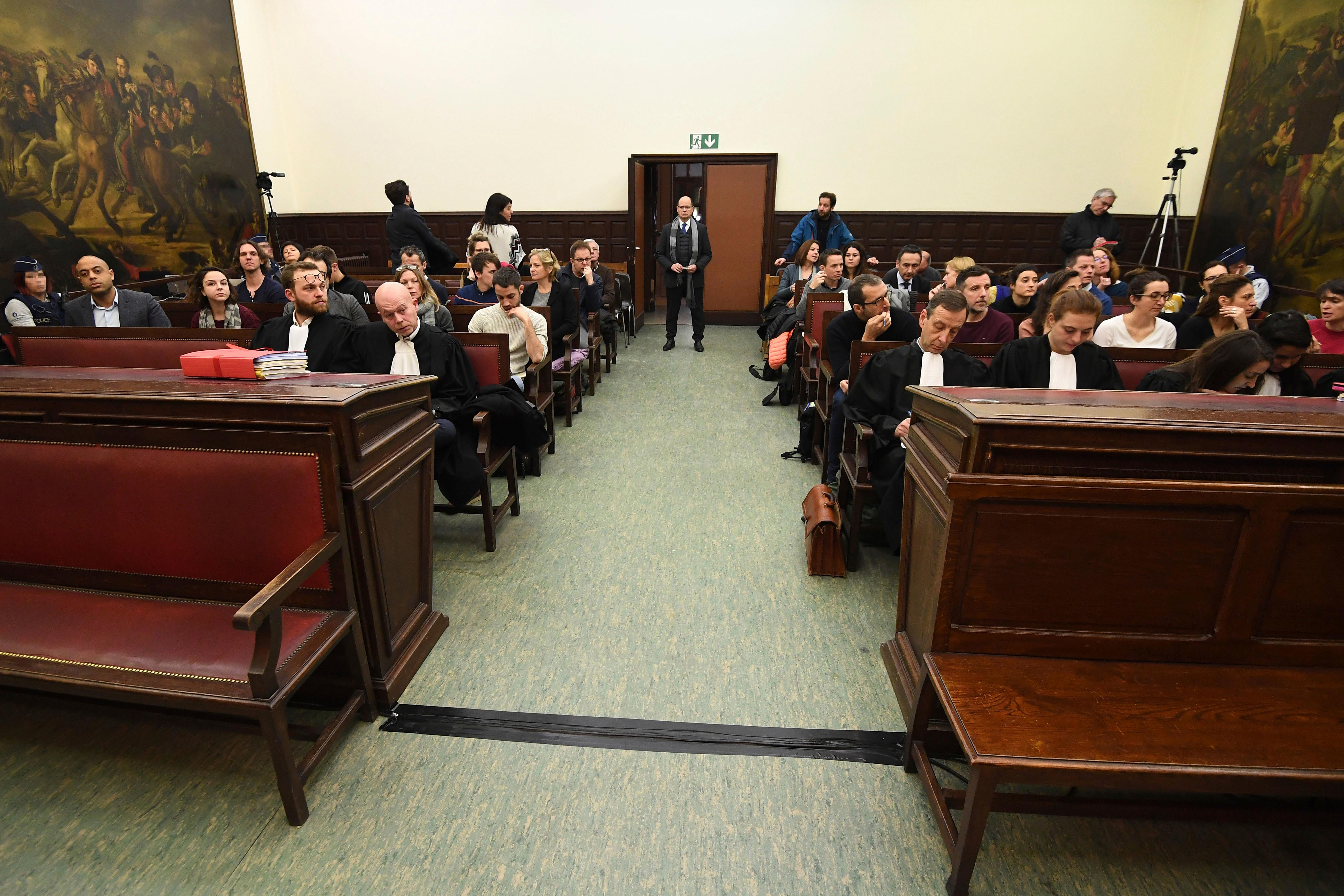 A general view of the courtroom prior to the trial of Salah Abdeslam at the Brussels Justice Palace in Brussels on Monday, Feb. 5, 2018. Salah Abdeslam and Soufiane Ayari face trial for taking part in a shooting incident in Vorst, Belgium on March 15, 2016. The incident took place when six members of a Franco-Belgian research team investigating the attacks in Paris were conducting a search in an allegedly empty safe house of the terrorists and were attacked. (Emmanuel Dunand, Pool Photo via AP)