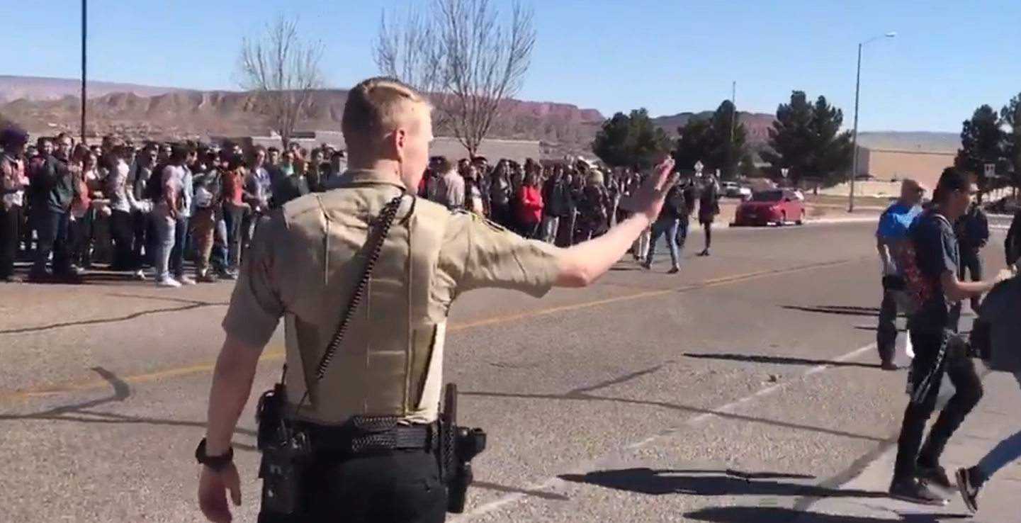 Students evacuate Pine View High School in St. George (Photo: KUTV)