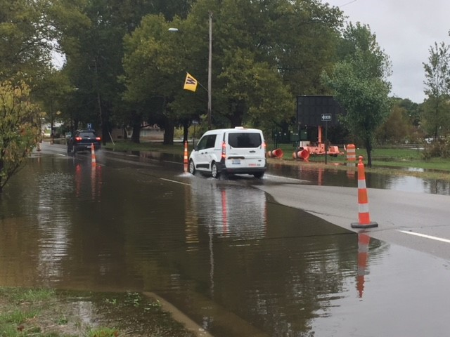 The intersection at Park Street and Crosstown Parkway in Kalamazoo is closed due to water on the road, according to the Michigan Department of Transportation. (Credit: Patrick Hagan -WWMT)<p></p>
