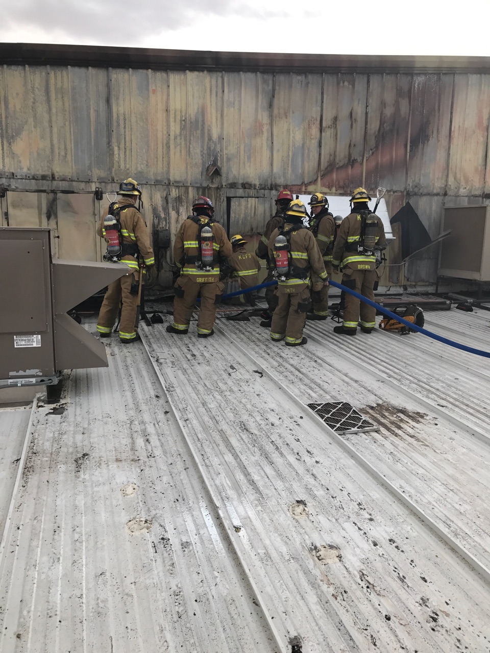 Firefighters are seen at a large commercial pistachio and almond processing facility near Lost Hills, Calif., following a fire Nov. 16, 2017. (Photo from KCFD)