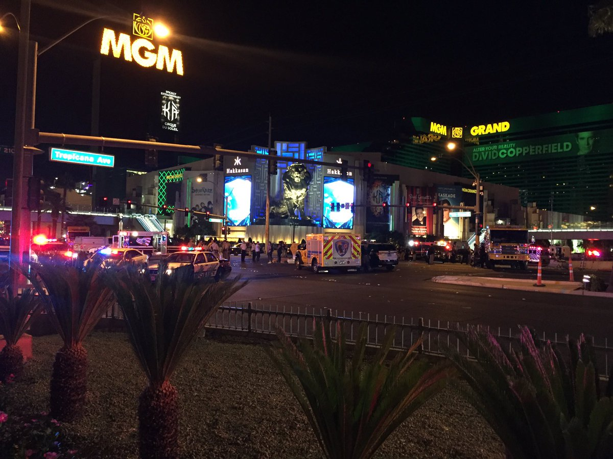 A triage tent was set up at the intersection at LasVegas Blvd and Tropicana (Craig Fiegener | KSNV)
