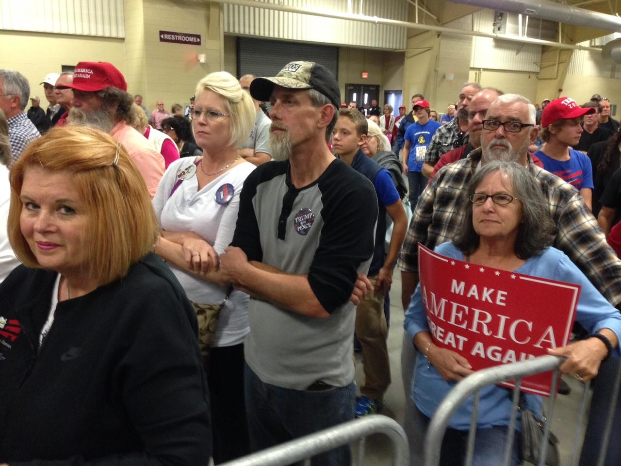 The crowd at the Donald Trump rally on October 21. (Photo credit: WLOS staff)