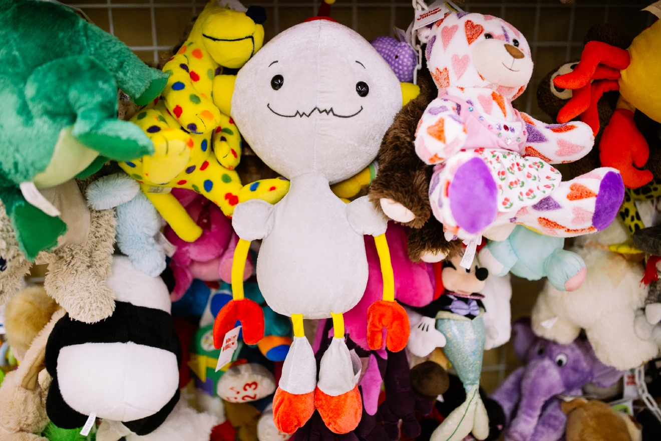 Stuffed animal robot. $2.99  Are you going to a White Elephant Gift Exchange this year? We headed to our local Value Village to give you some gift ideas and how much they cost. (Image: Joshua Lewis / Seattle Refined)