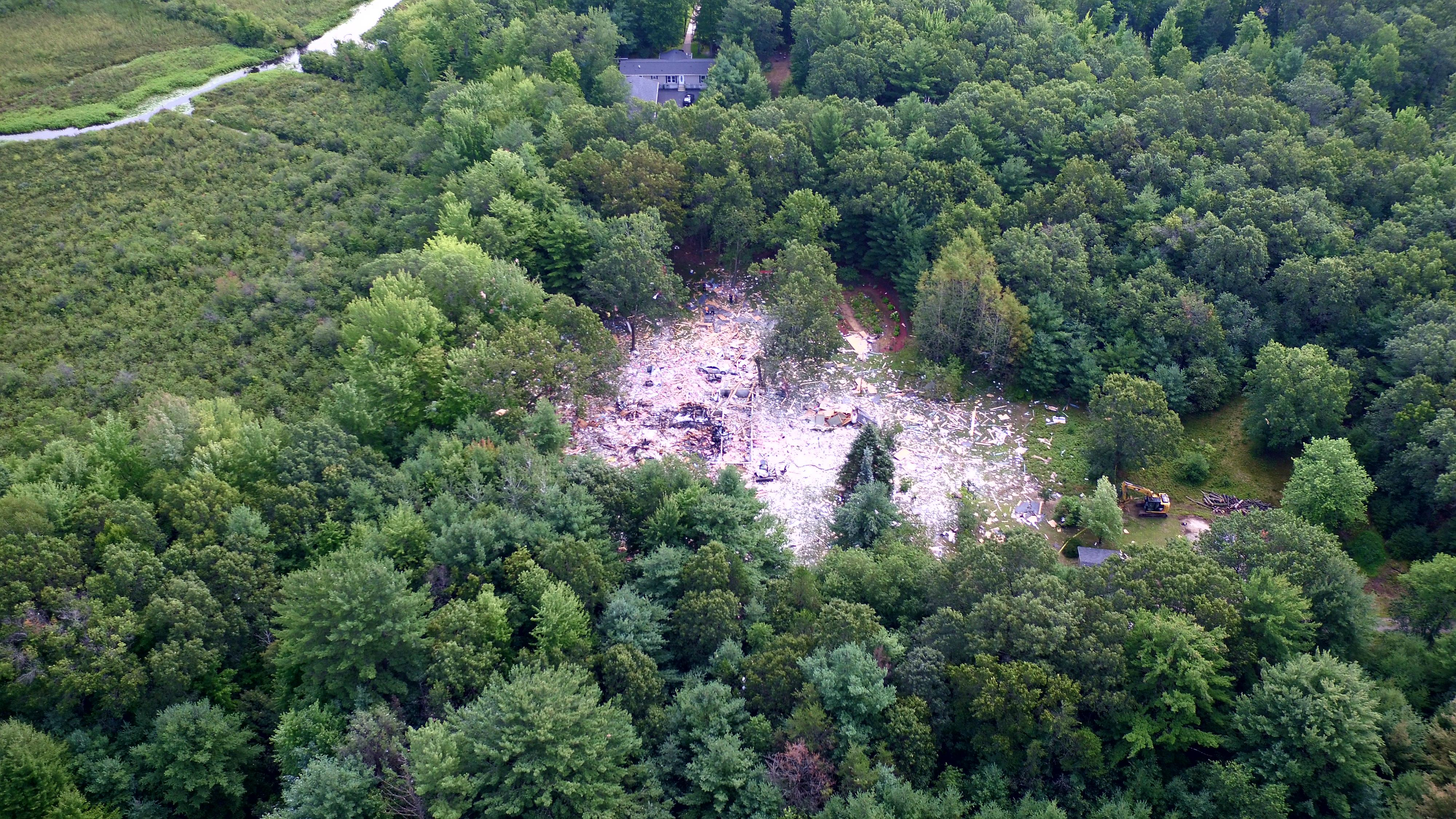 A aerial view of the scene where a house exploded in the Shawano County Town of Wescott Aug. 17, 2017. (WLUK image/SKYFOX)