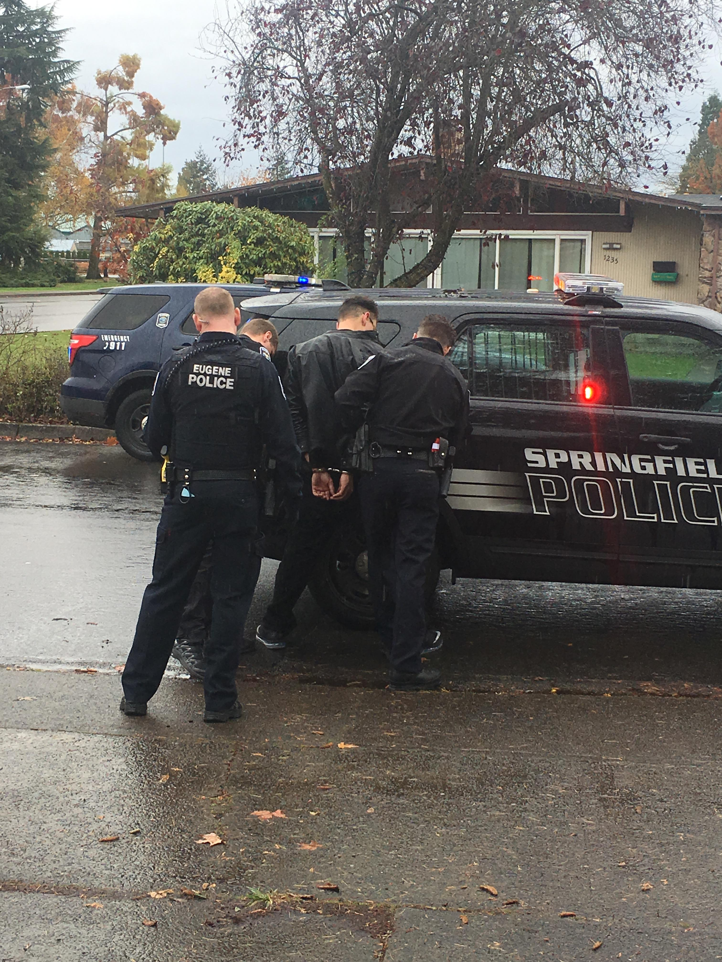 <p>Springfield Police stopped the BMW about 2 miles away at Centennial Boulevard and First Street. Officers detained two men. (SPD photo)</p>