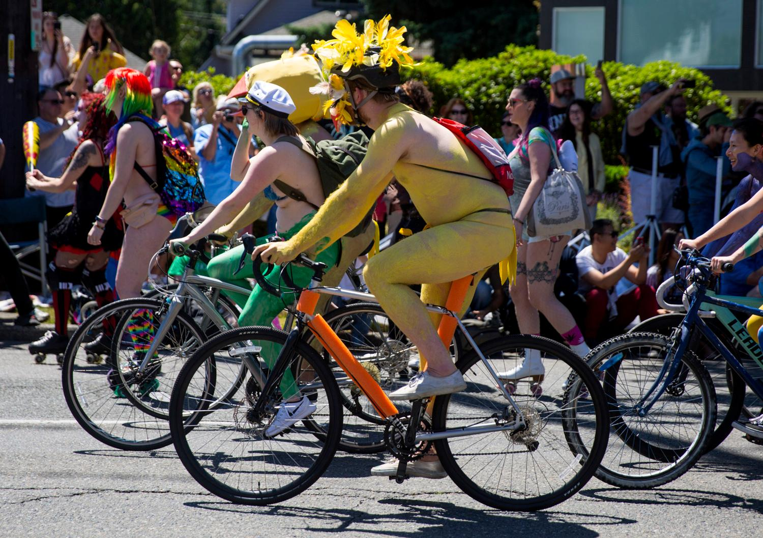 Thousands come down to the Fremont Solstice Fair for the annual Fremont Solstice Parade. Hundreds of bike riders get naked and unofficially kick off the Fremont Solstice Parade, painting their body in all types of colorful ways. Once the naked bike riders roll through musicians, dancers, clowns and lots of other quirky characters take to the parade route.