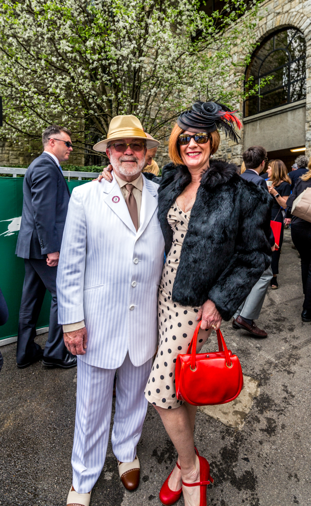 Attendees Andy and Carol Traister show off their outfits at Keeneland's Spring Meet/ Image courtesy of Catherine Viox // Published:{ }4.12.19