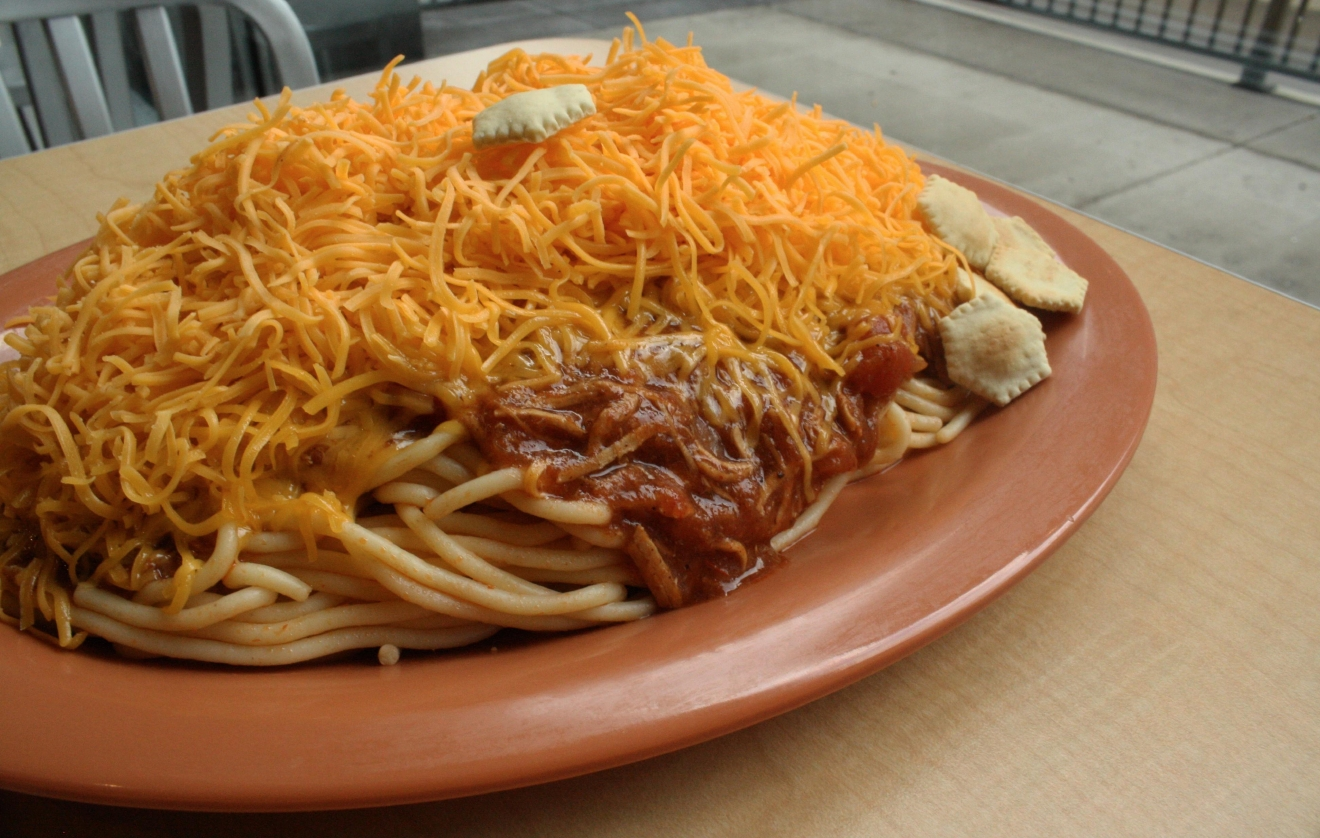 Cincinnati 3-Way - Chili, spaghetti, and shredded cheese / Image: Delaney French // Published: 1.27.17