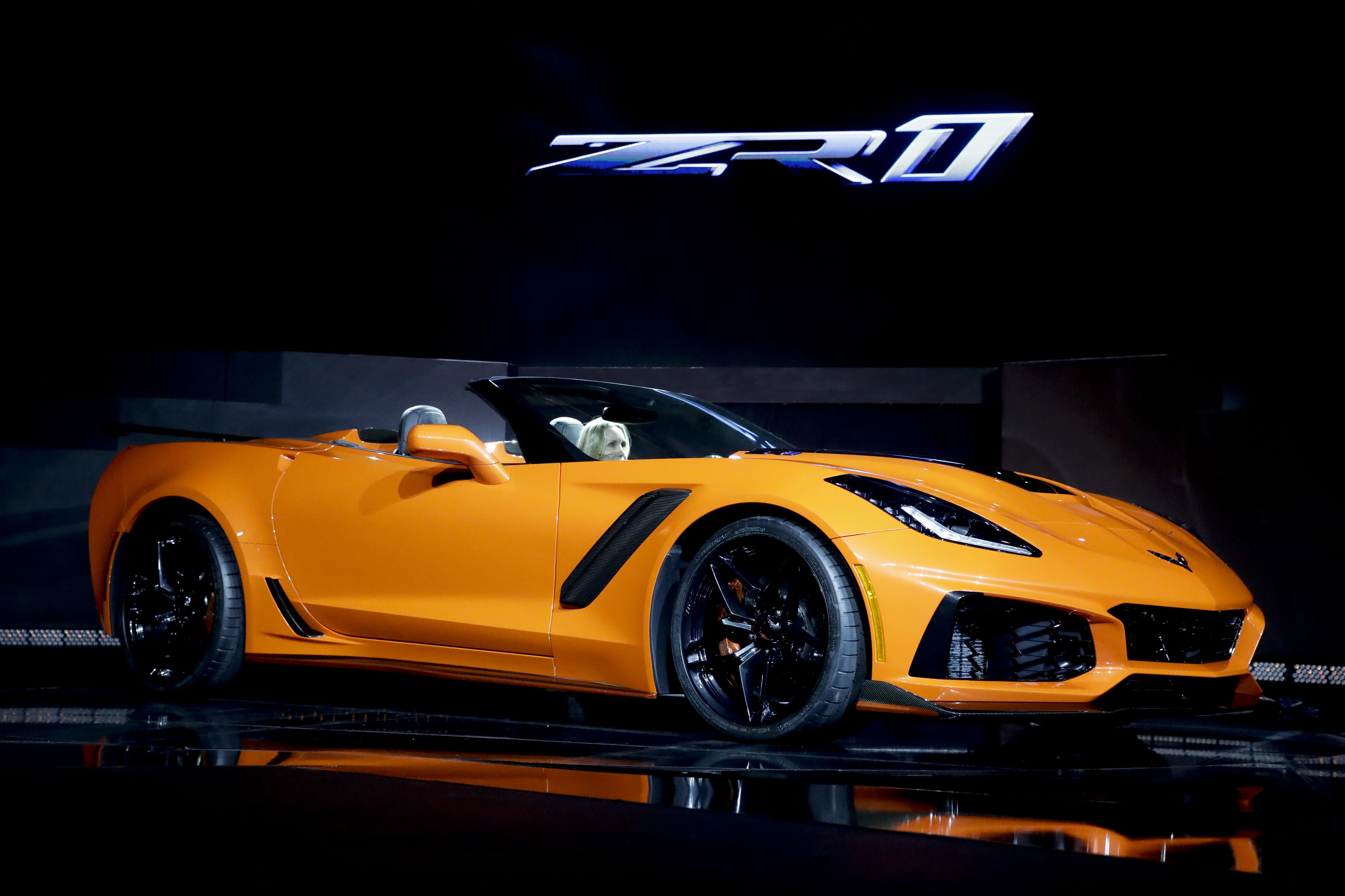 The 2019 Chevrolet Corvette ZR1 convertible is revealed during the AutoMobility LA auto show Tuesday, Nov. 28, 2017, in Los Angeles. (AP Photo/Chris Carlson)