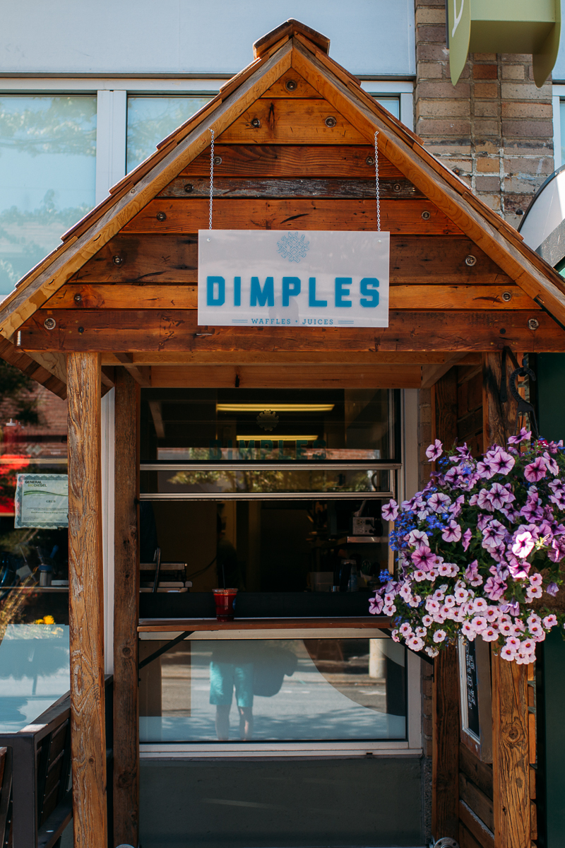 Dimples Waffle and Juices is a new pop up out of Grub's kitchen window in Queen Anne. They serve up Liege waffles in plain, savory and sweet varieties as well as a red or green fresh juice option. Dimples is open 9am-1pm Tuesdays through Fridays at 7 Boston St, Seattle, WA. July 9th 2014. (Joshua Lewis / Seattle Refined)