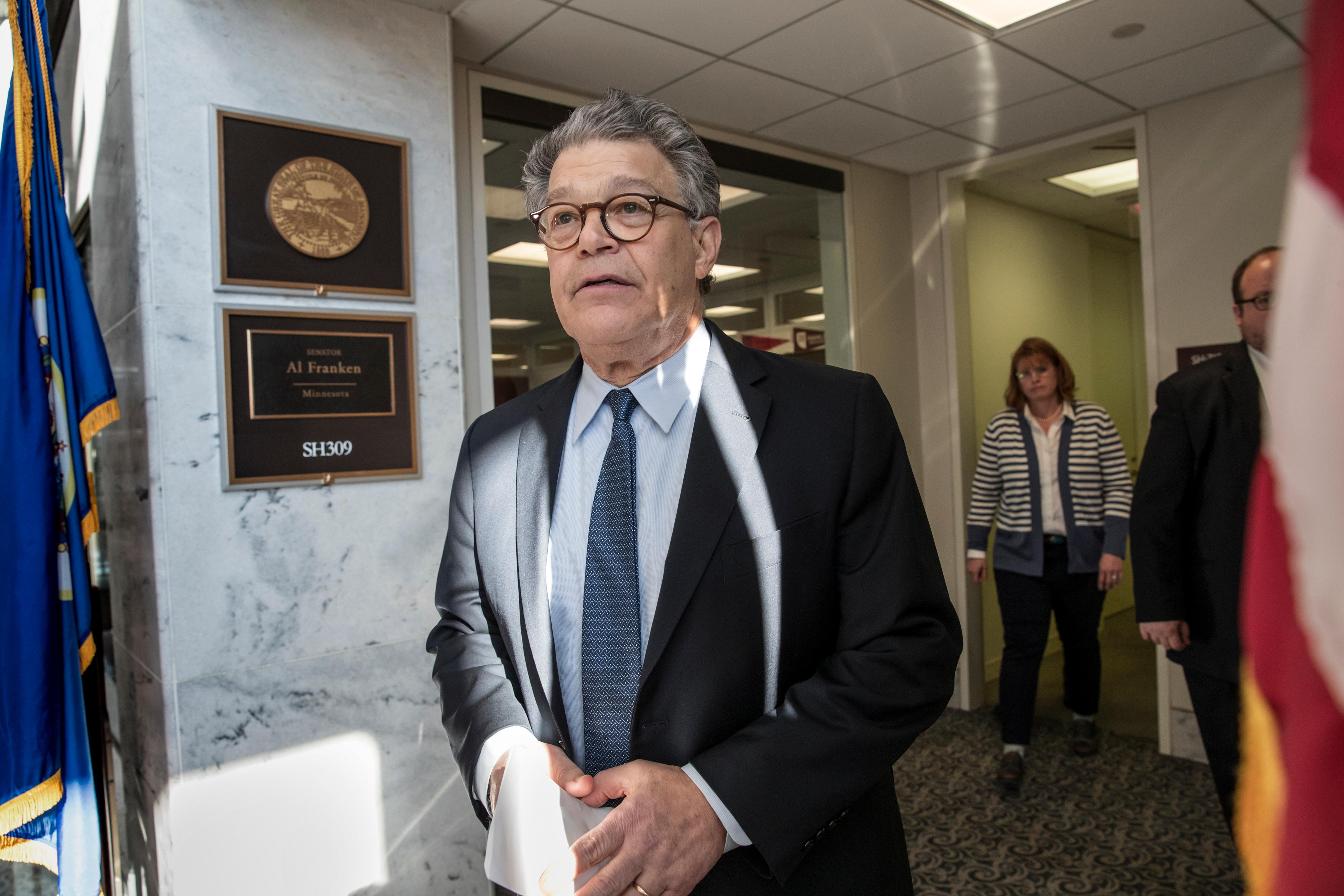 Sen. Al Franken, D-Minn., arrives to speak to the media on Capitol Hill, Monday, Nov. 27, 2017 in Washington. (AP Photo/J. Scott Applewhite)