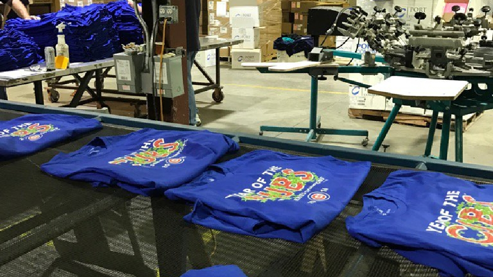 Local company honored to print world series t shirts wrgt for Local t shirt printing companies