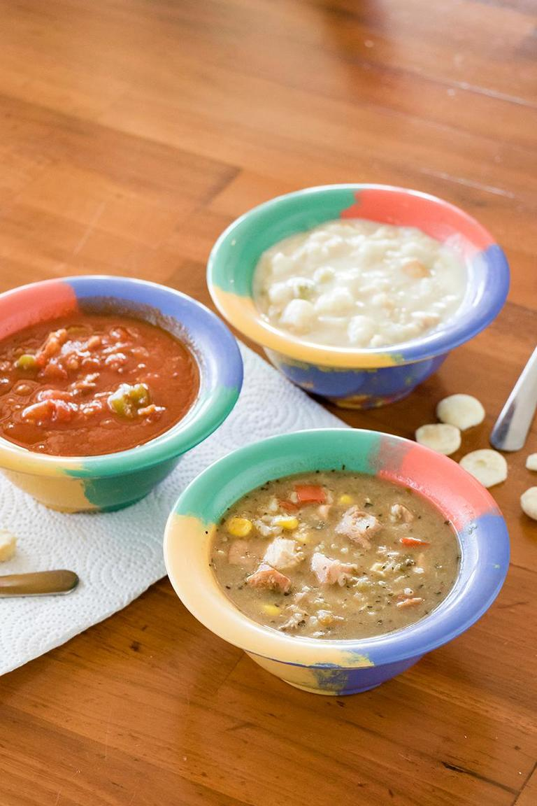 <p>Conch chowder, clam chowder, and gumbo / Image: Allison McAdams // Published: 8.8.18</p>